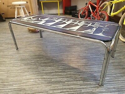 Superb Large Italian Modernist Retro Coffee Table With Chrome Legs Leather Top  • 99.50£