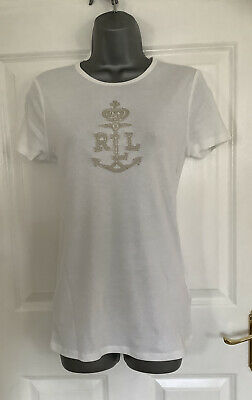 NEW Ladies Ralph Lauren White Embroidered T Shirt, Size M (10/12) • 19.50£