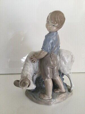 "Nice -Nao By Lladro ""I'm Not Moving"" Shepherd Boy With Stubborn Ram /Goat/Sheep • 29.99£"