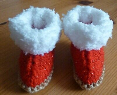 £4.25 • Buy Knitted Hand Made Baby Snuggle Ugg Booties Bootees Boots In 3 Size Options