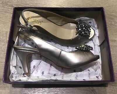 Lotus Ladies Sling Back Shoe Size 4uk. Pewter Metallic. New In Box.  • 20£