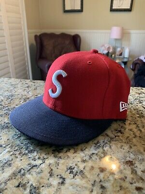 $ CDN126.57 • Buy Supreme S Logo New Era Fitted Cap Hat Red & Navy Ss07 2007 Size 7 5/8 Box