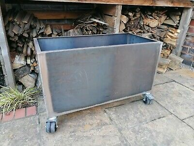 Hand-made Steel Garden Planter / Trough On Wheels With FREE UK Delivery • 160£
