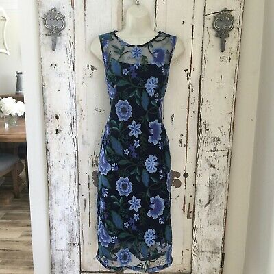 AU42.56 • Buy Calvin Klein Size 10 Woman's Blue Green Floral Sleeveless Career Cocktail Dress