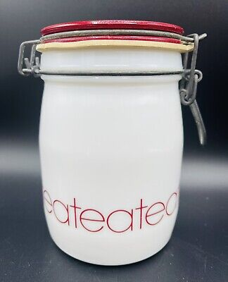 """$24.99 • Buy Vintage Wheaton Milk Glass Tea Canister Kitchen Storage White Red Bail Lid 5.75"""""""