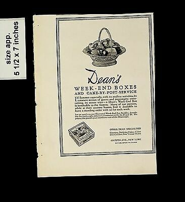 1925 Dean's Week-end Boxes Cake By Post Service Vintage Print Ad 015076 • 6.06£