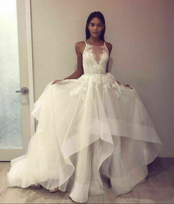 $ CDN112.91 • Buy Spaghetti Straps Tulle Tiered A-Line Lace Appliques Bridal Gowns Wedding Dresses