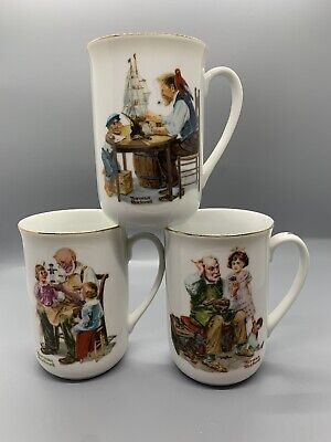 $ CDN15.15 • Buy Lot Of 3 Vintage Norman Rockwell Coffee Cups Mugs Museum Collection 1982