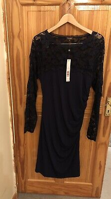 Phase Eight Lace Size 18 Dress Navy Ruched Side Zip • 79£