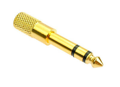 1/8 3.5mm Female To 6.5mm 1/4 Male Gold Headphone Stereo Audio Jack Adapter Plug • 1.05£