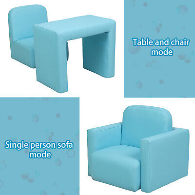 £45.99 • Buy 3-in-1 Kids Mini Sofa Padded Armchair Activity Table Chair Set Toddler Boys Blue