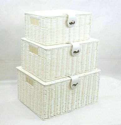 Set Of 3 Storage Baskets Organiser Hamper Resin Woven Box With Lid&Lock - White • 12.50£