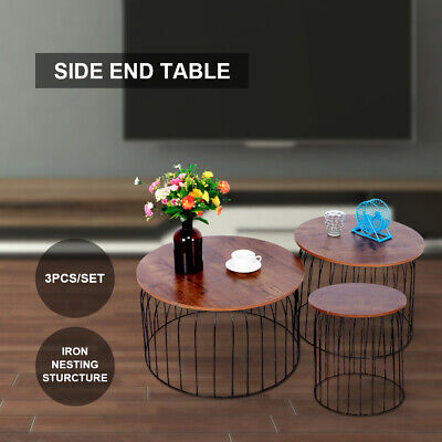 AU115.99 • Buy 3Pcs Table Set Nesting Coffee Table Home Living Room Sofa Round Table Furniture