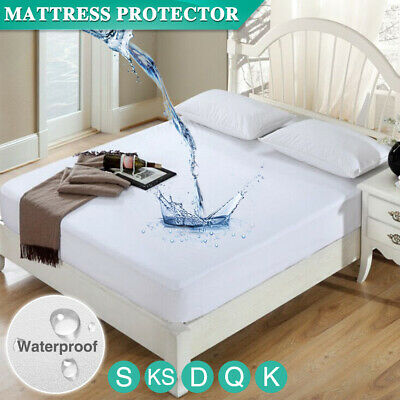 AU18.99 • Buy Fully Fitted Terry Cotton Waterproof Mattress Protector Bed Soft Cover All Size