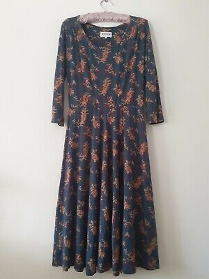 Brora Libery Print Jersey Blue Dress Size 10 • 38£