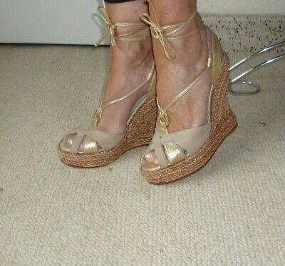 Terry De Havilland,Beige&Gold Ankle Tie Espadrille/Wedge/Sandals/Shoes,HippyChic • 50£