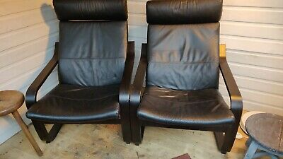 Ikea Poang Armchairs X 2 Black Leather Black Ash Frame • 1.20£