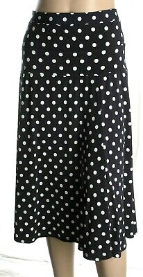 Marks & Spencer Blue White Polka Dot Print Flare Midi Skirt Size 18 UK • 14.99£
