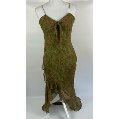 Morrell Maxie Dress Women's Size 4 High Low Green Red And Beige Floral Pattern • 28.92£