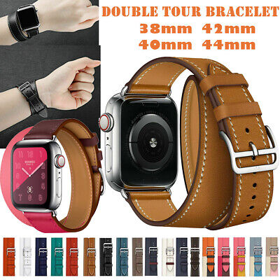 AU19.84 • Buy Leather Double Tour Band Strap For IWatch 38m 40m 42m 44m For Watch 6 SE 5 4 3 2