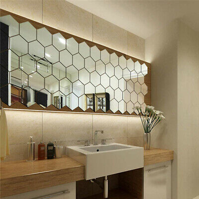 48PCS Acrylic 3D Mirror Effect Tile Wall Stickers Room Decor Art Bathroom DIY • 4.99£