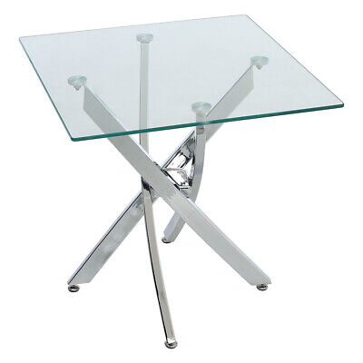 Coffee Side Table End Table Corner Table Glass Top Chrome Legs Living Room Clear • 79.95£