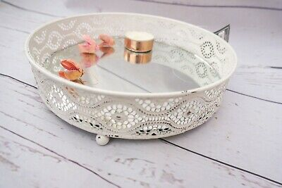 £9 • Buy Vintage White Shabby Chic Mirror Candle Plate Candle Plate Perfume Display Trays