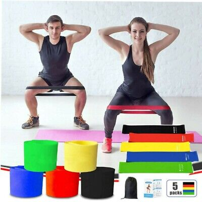 AU7.88 • Buy Resistance Booty Bands Set-5 Hip Circle Loop Bands Workout Exercise Yoga Gym