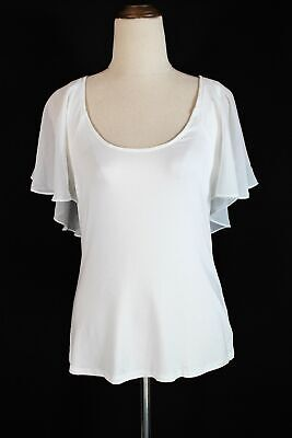 AU19.95 • Buy Forever New Ivory-white Stretch Sleeveless Top With Silky Cap Overlay - NWOT - 8