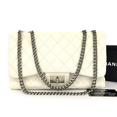 AU2642.40 • Buy CHANEL White 2.55 Quilted Caviar Skin Silver Chain Shoulder Bag /71108