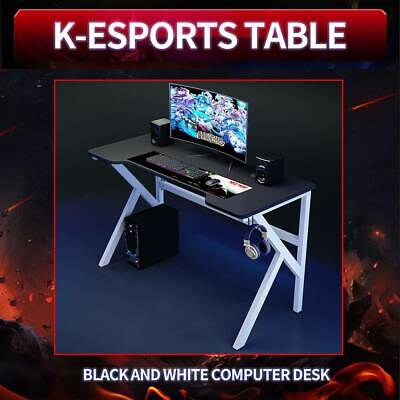 £65.99 • Buy UK Gaming Desk Steel Frame W/Cup Headphone Holder Cable Hole Adjustable Feet New
