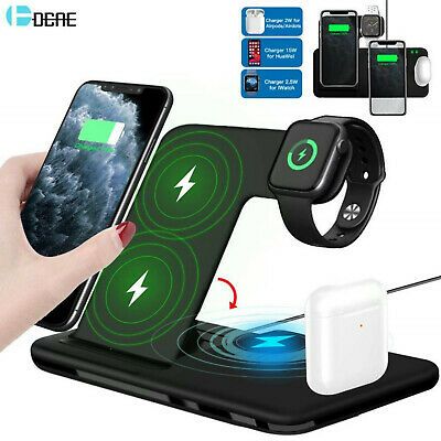 AU57.28 • Buy 4in1 Charging Dock Holder 15W Qi Fast Wireless Charger Stand For IPhone Iwatch