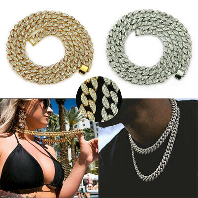 £10.29 • Buy 18  20  Mens Boys Hiphop Thick Necklace Cuban Iced Out Chain Diamond  Jewellery
