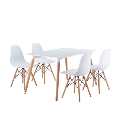 £59.99 • Buy Dining Table And Chairs 2 4 6 Set Wooden Leg Retro Room Chair White Kitchen