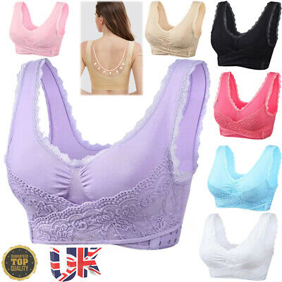 £5.59 • Buy UK Bra Front Cross Buckle Lace Padded Vest Tops Underwear Crop Breathable Comfy