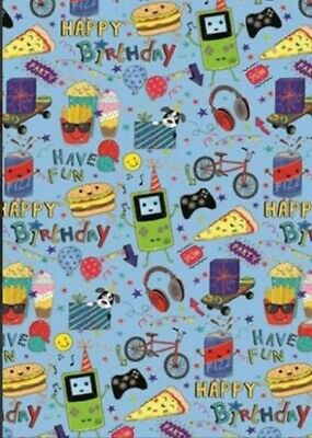 £2.49 • Buy 2 Sheets KIDS FAST FOOD GAMING Gift Wrap Happy Birthday Wrapping Paper Boys Girl