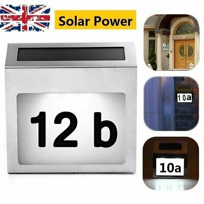 £8.99 • Buy Solar Panel Doorplate Number Light 4 LED Outdoor Fence Wall Plaque House Lamp
