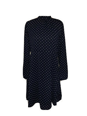 H&M Navy Blue White Polka Dot Women's Midi Dress, Size UK 14/44 • 10£