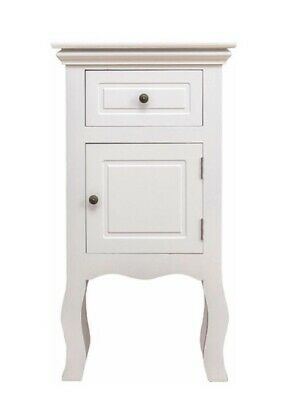 Small White Wood Shabby Chic Bedside Table / Cabinet French Style • 69.99£
