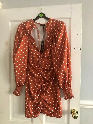 Women's Brown Polka Dot Ruched Dress With Long Sleeves Size 10 By Boohoo • 3.50£