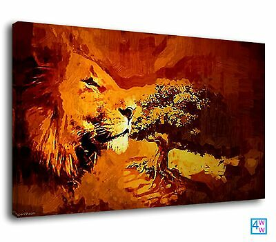 Impressionist Lion Whispering Orange Sunset Trees Canvas Print Wall Art Picture • 38.99£