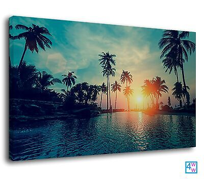 Tropical Palm Tree Miami Paradise Beach Sunset Canvas Print Wall Art Picture • 38.99£