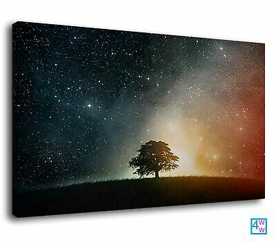 Tree Against The Stary Cosmos Fantasy Landscape Canvas Print Wall Art Picture • 38.99£