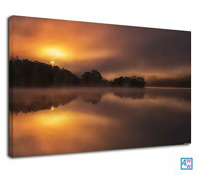 Golden Sunset Above A Misty River And Forest Tree Canvas Print Wall Art Picture • 38.99£
