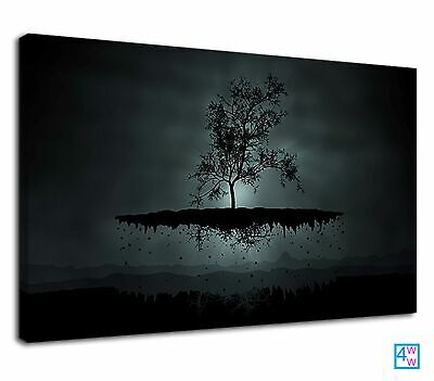 Fantazy Black Tree Floating Against A Full Moon Canvas Print Wall Art Picture • 38.99£