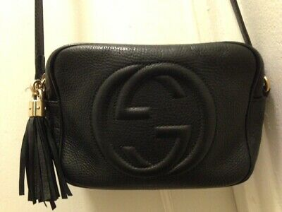 AU455 • Buy GUCCI Soho Crossbody Leather Shoulder Black Bag W/ Gold Detail