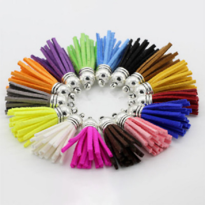 £7.85 • Buy 100pcs/set DIY Suede Leather Tassel Jewelry Charms Tools Keychain Straps Craft