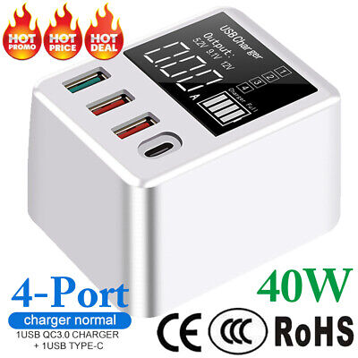 AU23.56 • Buy 4 Multi-Port Fast Quick Charge QC3.0 USB Hub Mains Wall Charger Adapter UK Plug