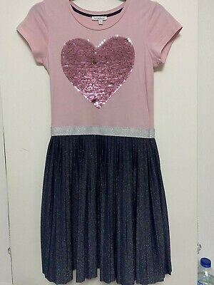 Bluezoo - Girls Pink/Blue Dress With Reversible Sequin Heart 11yrs. Used-v.good • 5.99£