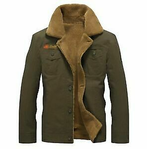 £14.99 • Buy Mens Winter Bomber Wool Lined Military Vintage Air Force Army Warm Jacket